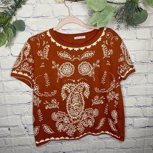 Zara Trafaluc boho Orange Paisley print shirt